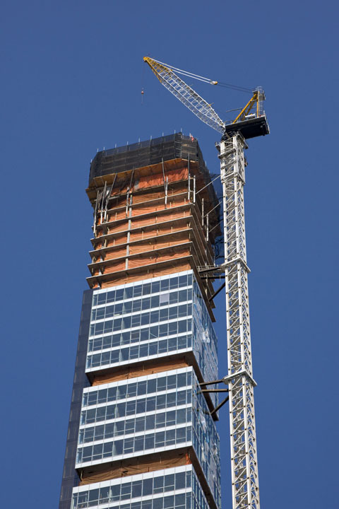 construction crane and skyscraper